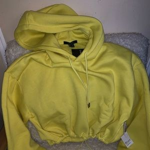 BRAND NEW F21 LIME CROP FLEECE HOODIE